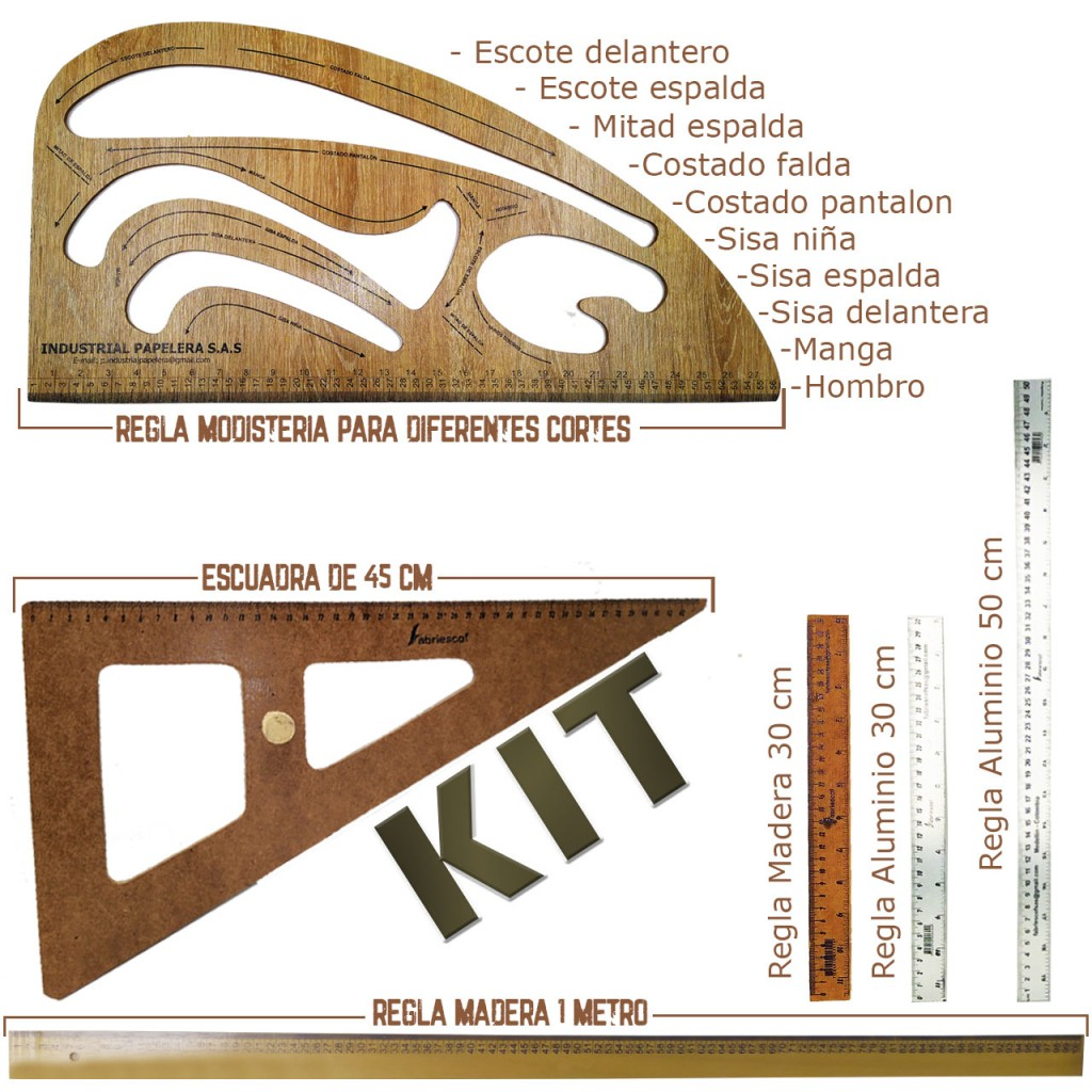 Kit Reglas Costura Coser Corte Curva Moda Regla Modistería