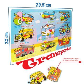 Rompecabezas transportes 2 madera juguetes didactico jugueteria